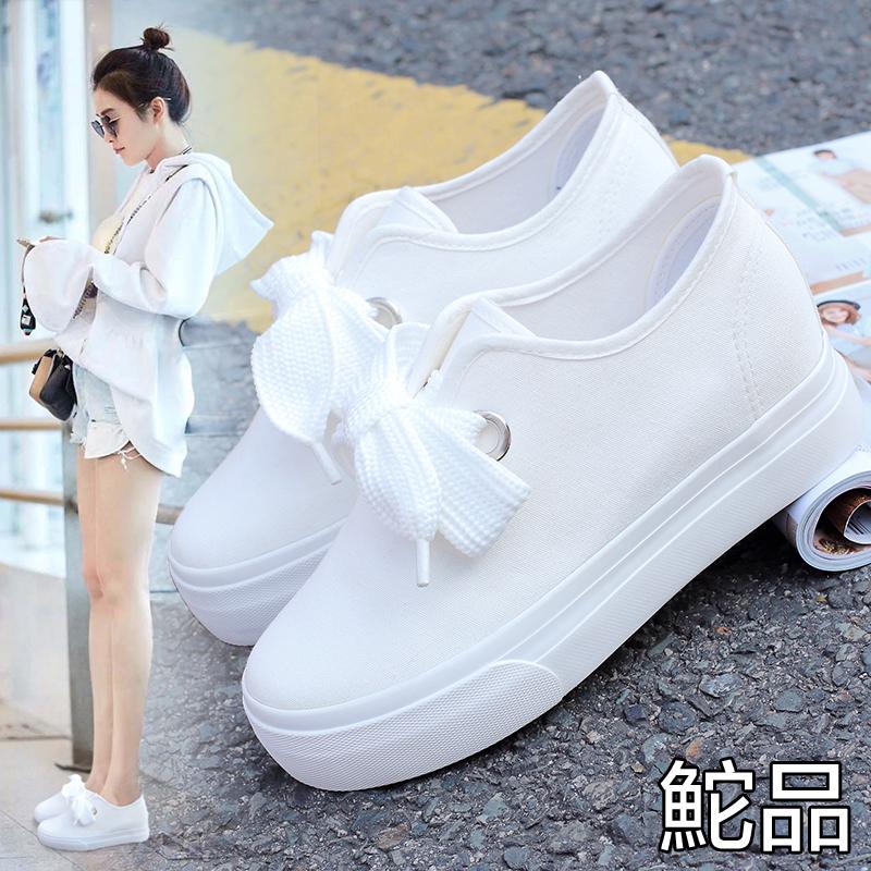 白色松糕鞋 鮀品夏季白色内增高帆布鞋百搭小白鞋学生厚底休闲布鞋松糕板鞋女_推荐淘宝好看的白色松糕鞋