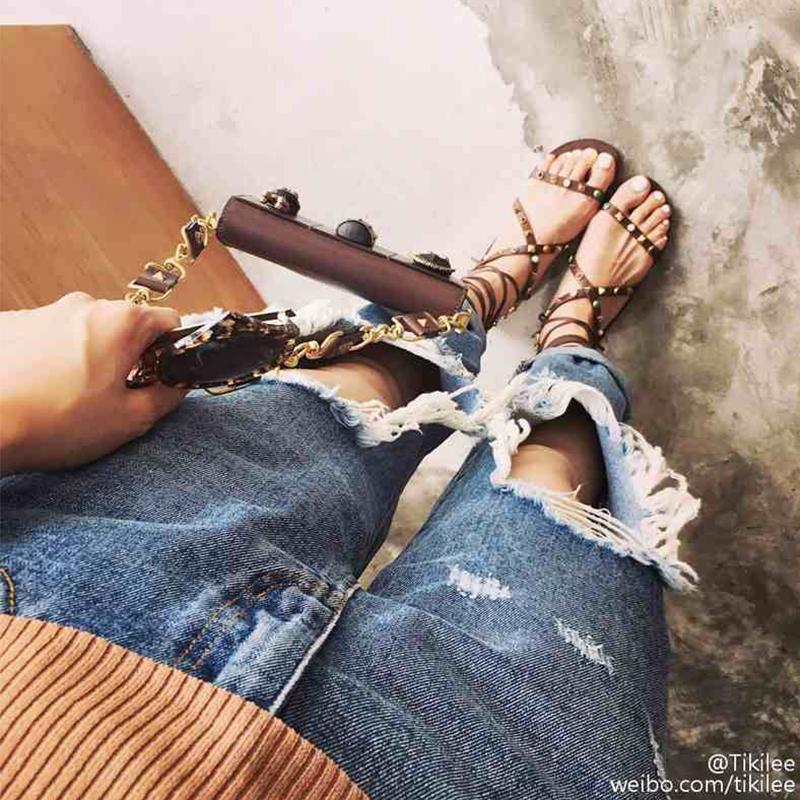 韩版平底女凉鞋 2016新款女鞋韩版百搭鞋子铆钉罗马鞋时尚凉鞋女潮一字绑带平底鞋_推荐淘宝好看的女韩版平底凉鞋