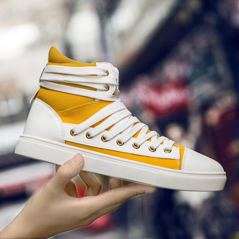 黄色高帮鞋 秋季新款高帮男鞋个性时尚潮鞋韩版潮流百搭黄色帆布鞋子透气板鞋_推荐淘宝好看的黄色高帮鞋