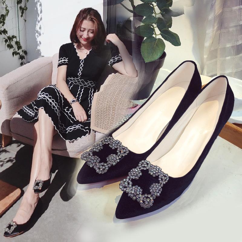 尖头鞋 2017新款尖头方扣水钻单鞋女鞋高跟鞋舒适工作细跟低跟绸缎婚鞋子_推荐淘宝好看的女尖头鞋