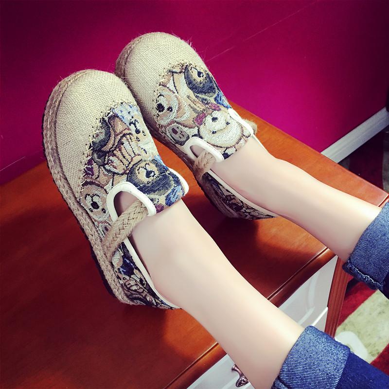 涂鸦帆布鞋 民族风女鞋厚底帆布鞋女韩版学生布鞋休闲鞋一脚蹬懒人鞋涂鸦板鞋_推荐淘宝好看的女涂鸦帆布鞋