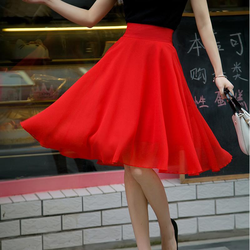 红色半身裙 2017夏季新款仙女半身裙中裙大摆伞裙雪纺及膝中长裙过膝A字裙_推荐淘宝好看的红色半身裙