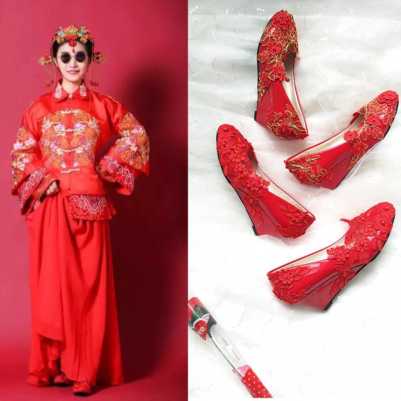孕妇坡跟鞋 红色坡跟新娘鞋中式结婚旗袍鞋敬酒礼服鞋手工蕾丝圆头低帮孕妇鞋_推荐淘宝好看的孕妇坡跟鞋