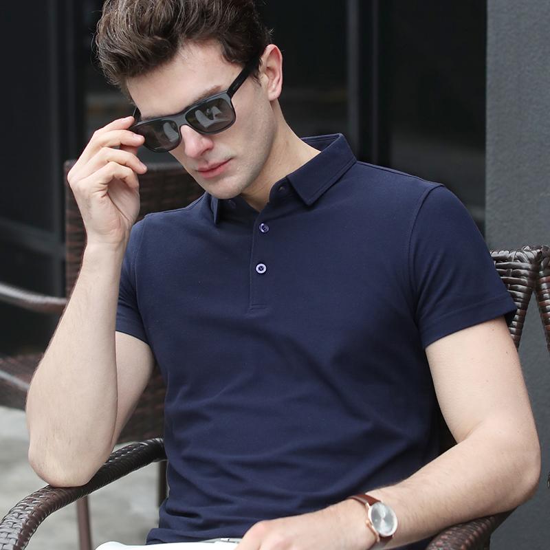 红色T恤 夏季中青年男士纯棉短袖t恤大码翻领衬衫 丝光棉纯色爸爸装真口袋_推荐淘宝好看的红色T恤