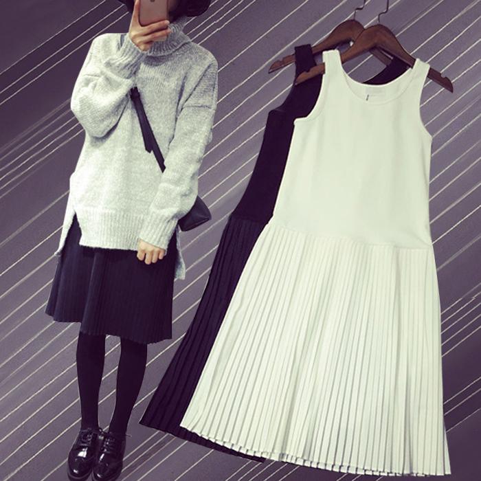 白色连衣裙 大码女装莫代尔打底背心百褶衬裙内搭a字裙中长款宽松雪纺连衣裙_推荐淘宝好看的白色连衣裙