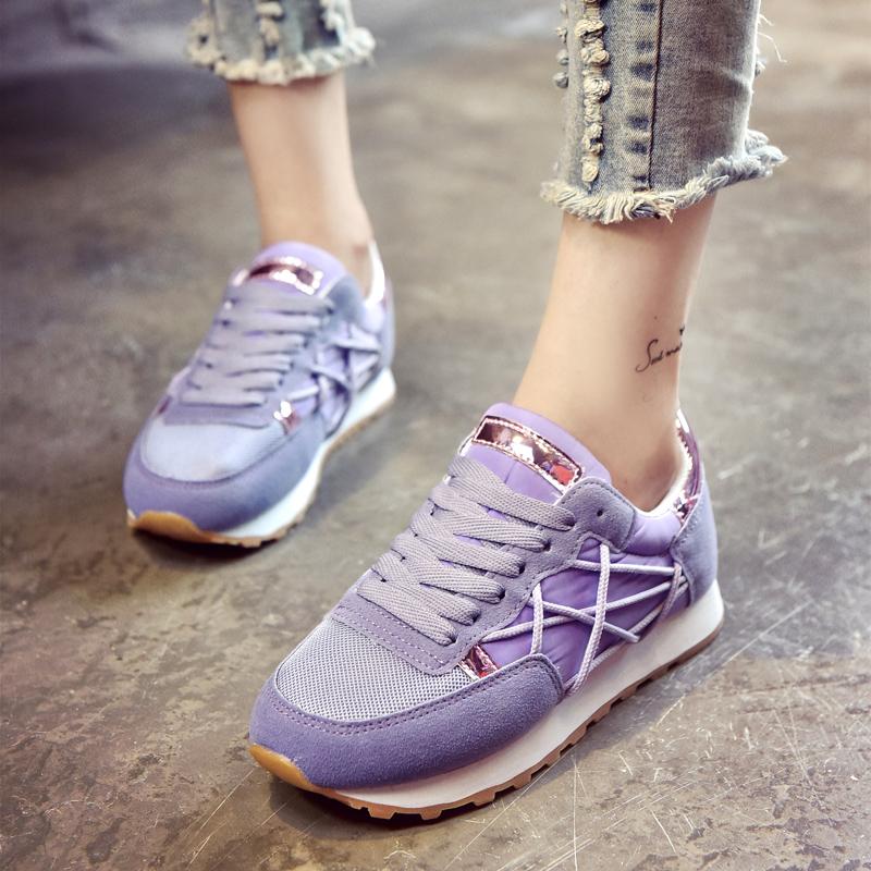 紫色运动鞋 韩版秋冬季原宿ulzzang运动跑步鞋子白粉紫色系带松糕底网面女鞋_推荐淘宝好看的紫色运动鞋