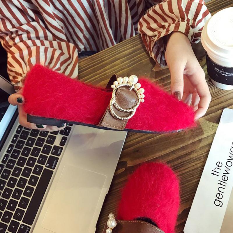 红色豆豆鞋 红色鞋子女2017新款加绒百搭时尚韩版冬平底圆头学生全毛毛豆豆鞋_推荐淘宝好看的红色豆豆鞋