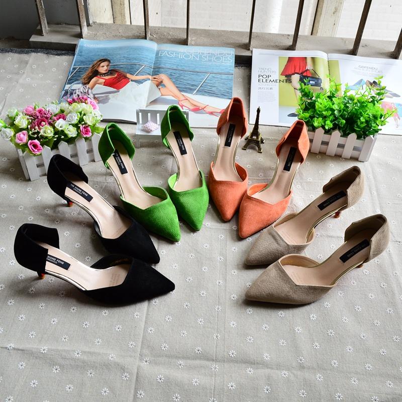 绿色尖头鞋 春季新款磨砂猪皮真皮中空女鞋显白绿色橙色ol高跟鞋细跟尖头单鞋_推荐淘宝好看的绿色尖头鞋