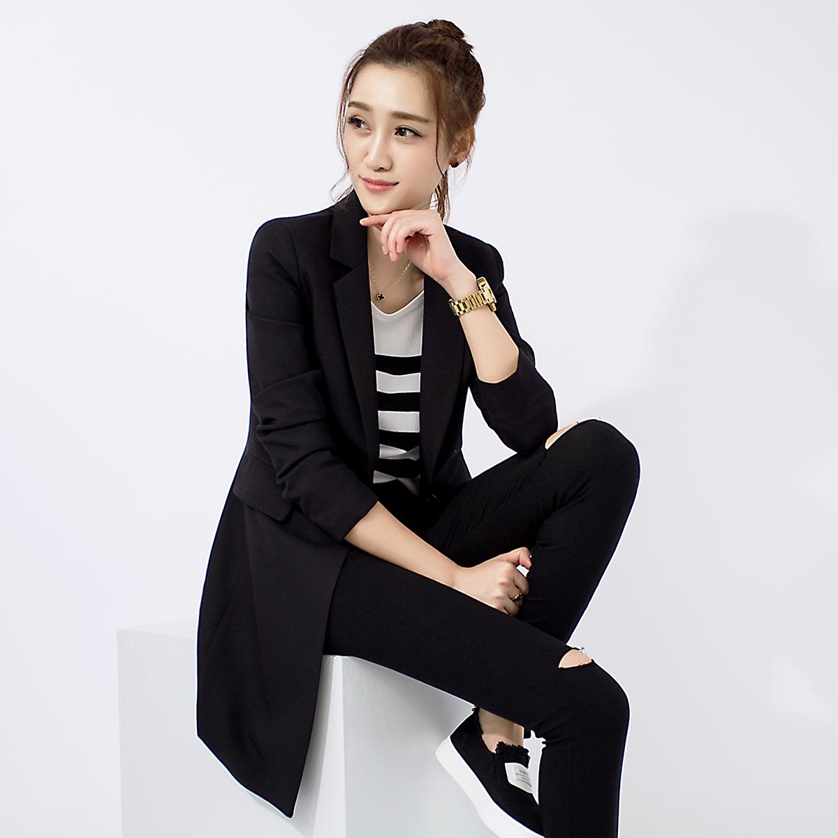 一粒扣小西装 2016秋装新款韩版修身显瘦小西装女中长款外套一粒扣黑色长袖西服_推荐淘宝好看的女一粒扣小西装