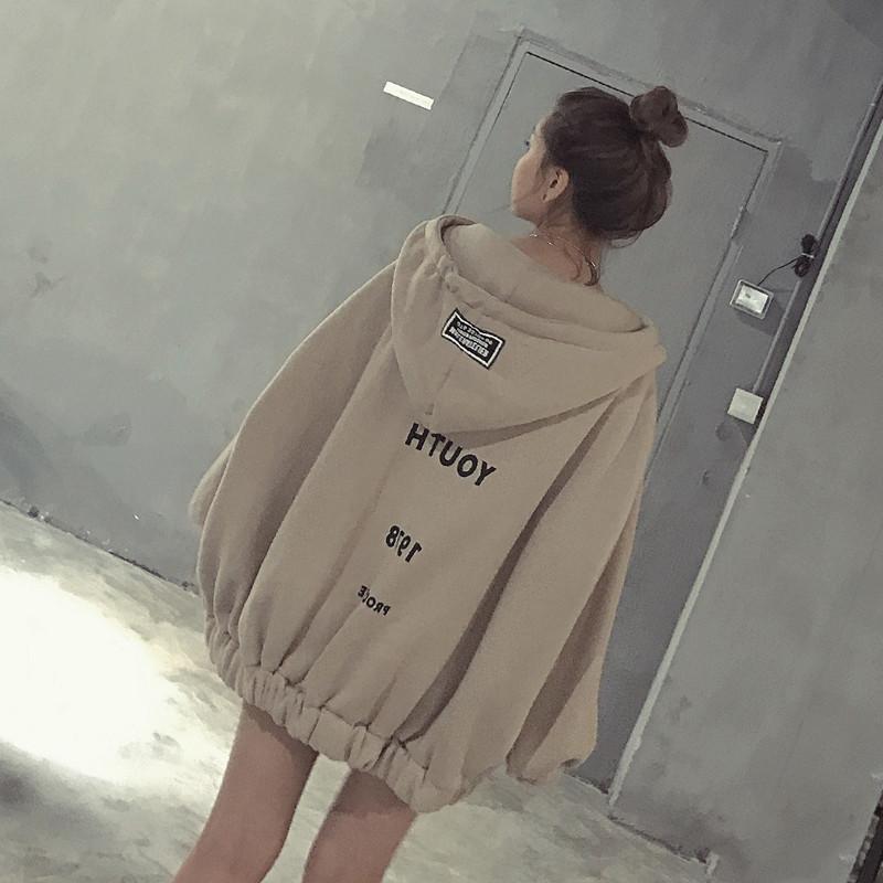 长款卫衣 秋冬季新款韩版连帽加厚加绒中长款卫衣学生外套女拉链宽松蝙蝠袖_推荐淘宝好看的女长款卫衣