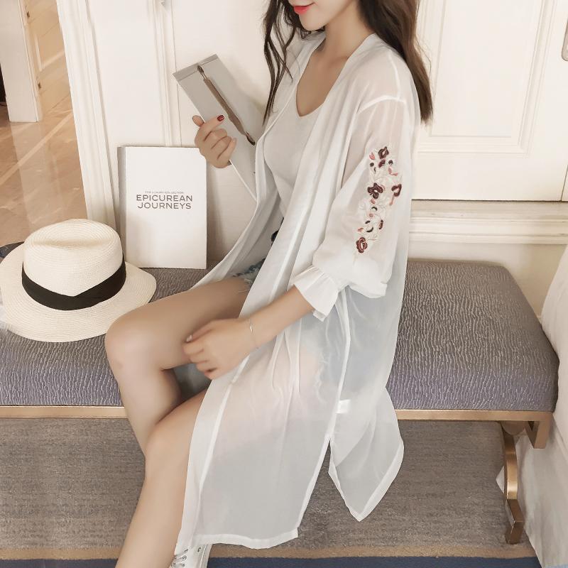 欧时力女装 欧时力新式2017新款中长款刺绣雪纺开衫防晒衣女夏薄款外套空调衫_推荐淘宝好看的欧时力