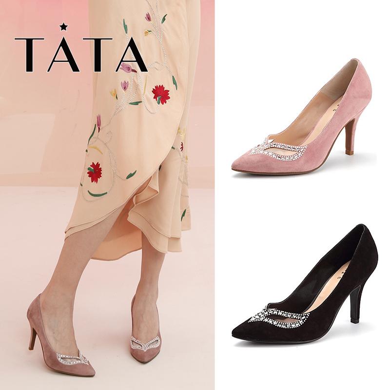 他她尖头鞋 【商场同款】Tata他她2017秋尖头高跟女单鞋2H5C1CQ7_推荐淘宝好看的他她尖头鞋
