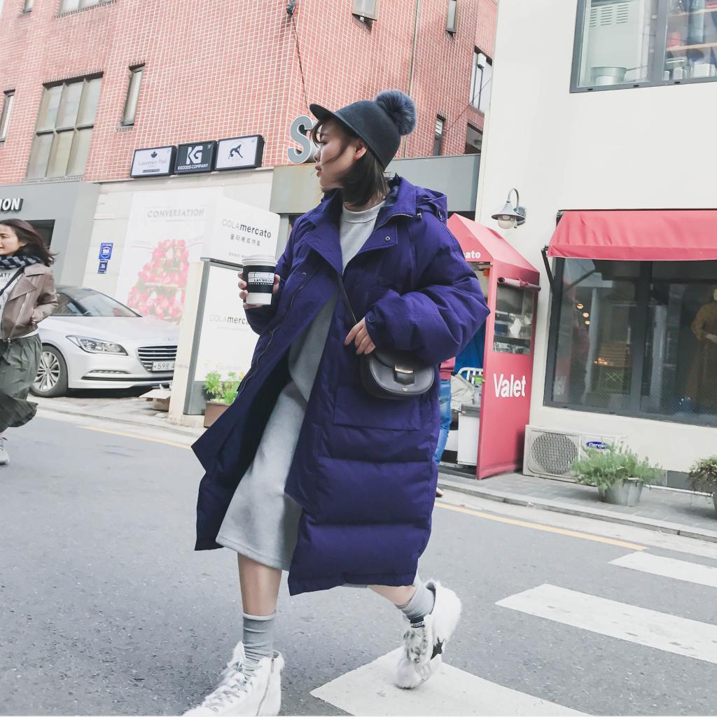 紫色羽绒服 定制2016新款a字紫色羽绒服女中长款加厚连帽面包服外套冬季韩国_推荐淘宝好看的紫色羽绒服