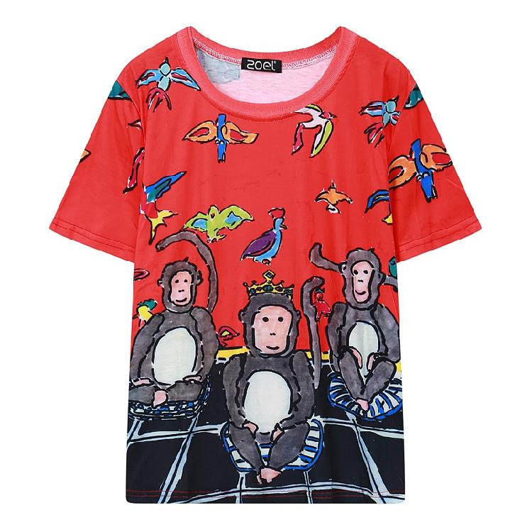 手绘情侣t恤 2016新款欧美童趣手绘三只猴子猴年情侣装纯棉男女装短袖t恤T2821_推荐淘宝好看的女手绘情侣t恤