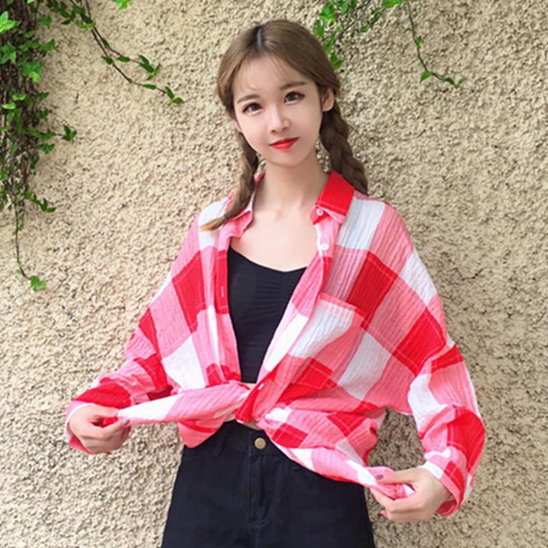 格子衬衫 2017夏装新款女韩版中长款宽松格子衬衫前短后长防晒衣外套开衫潮_推荐淘宝好看的女格子衬衫
