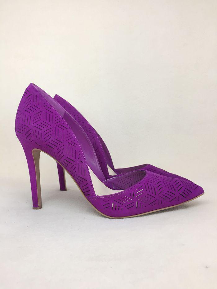 紫色高跟鞋 夕夕家 J 新配色 真皮 镭射孔 尖头细跟 紫色高跟单鞋 36 36.5 37_推荐淘宝好看的紫色高跟鞋