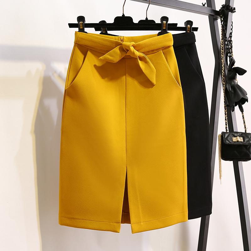 黄色半身裙 秋装韩版开叉高腰包臀裙半身裙女黄色OL职业一步裙中长款包裙_推荐淘宝好看的黄色半身裙