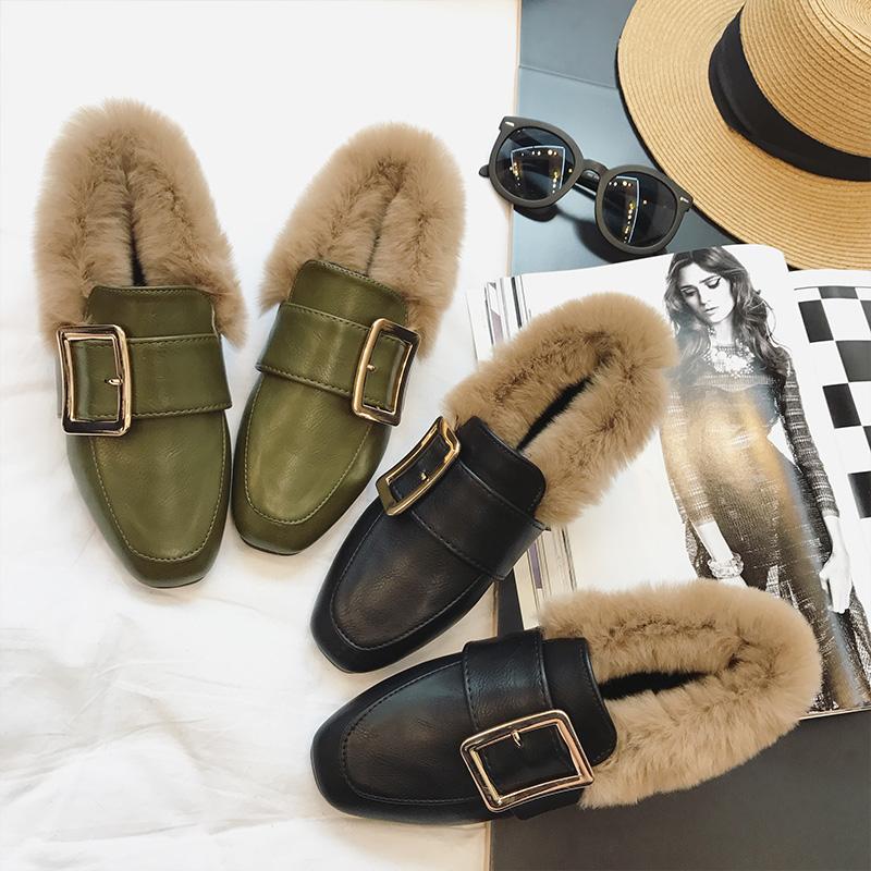 单鞋 韩版冬季新款方头平底毛毛鞋女加绒英伦风平跟单鞋兔毛百搭豆豆鞋_推荐淘宝好看的女单鞋