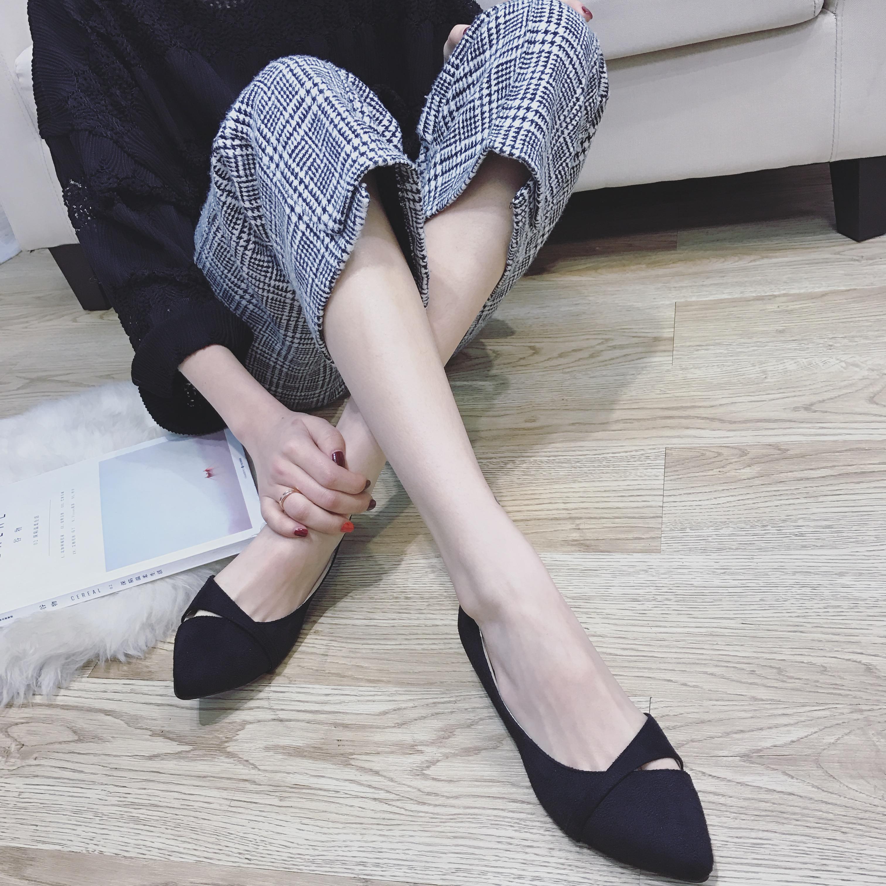 气质小单鞋 包邮时尚气质绒面镂空低跟职场白领工作宝蓝色单鞋尖头大码女瓢鞋_推荐淘宝好看的女气质单鞋