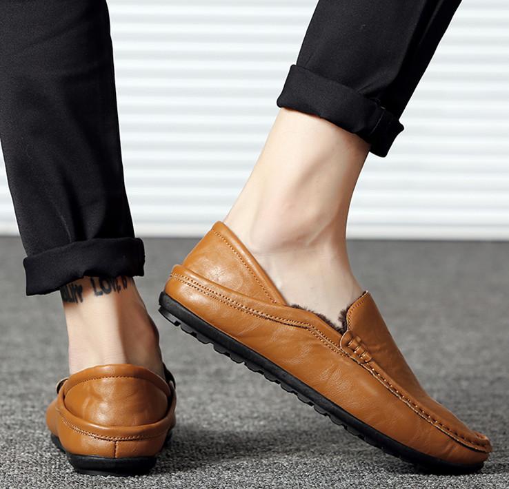 黄色豆豆鞋 冬季男士加绒休闲豆豆鞋懒人鞋英伦棕色软皮青年低帮棉鞋黄色皮鞋_推荐淘宝好看的黄色豆豆鞋