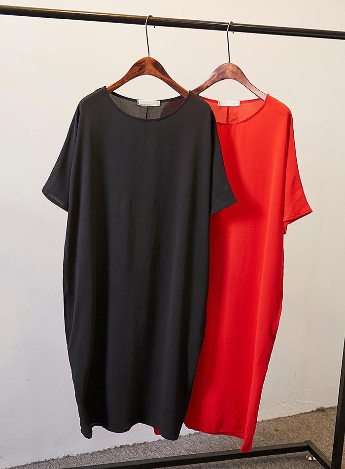 蝙蝠袖雪纺衫 欧美风 街头宽松大码显瘦大牌简约中长款纯色短袖雪纺衫 连衣裙女_推荐淘宝好看的蝙蝠袖雪纺衫