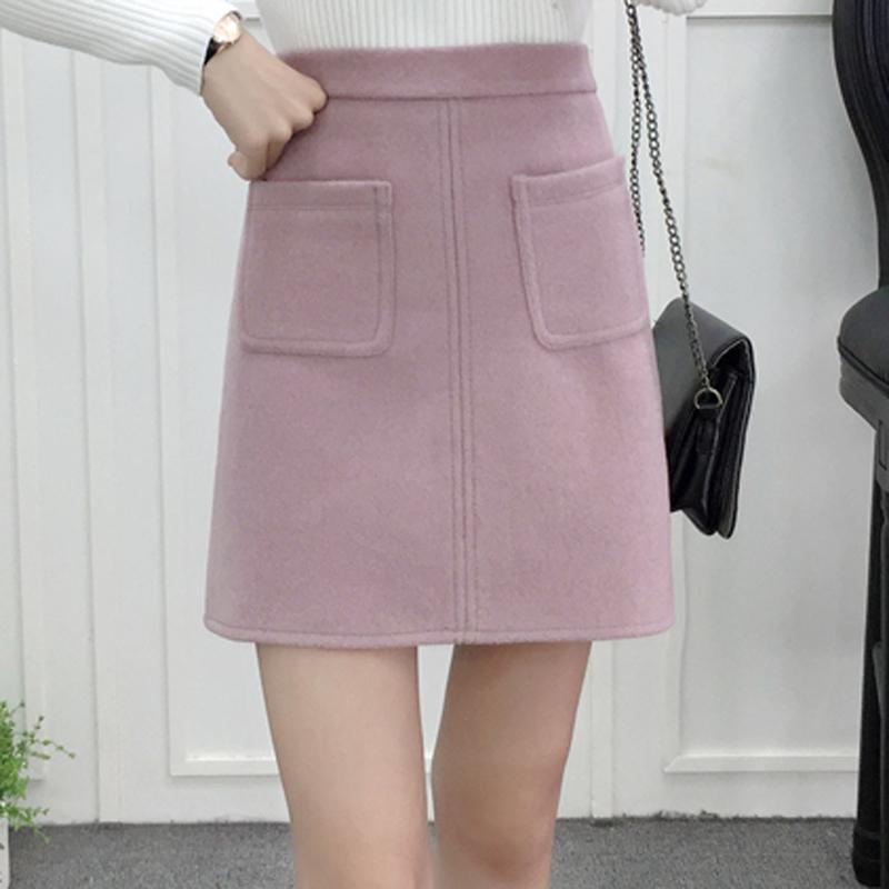 粉红色半身裙 毛呢半身裙秋冬新款韩版冬裙女口袋粉色短裙高腰包臀裙显瘦A字裙_推荐淘宝好看的粉红色半身裙