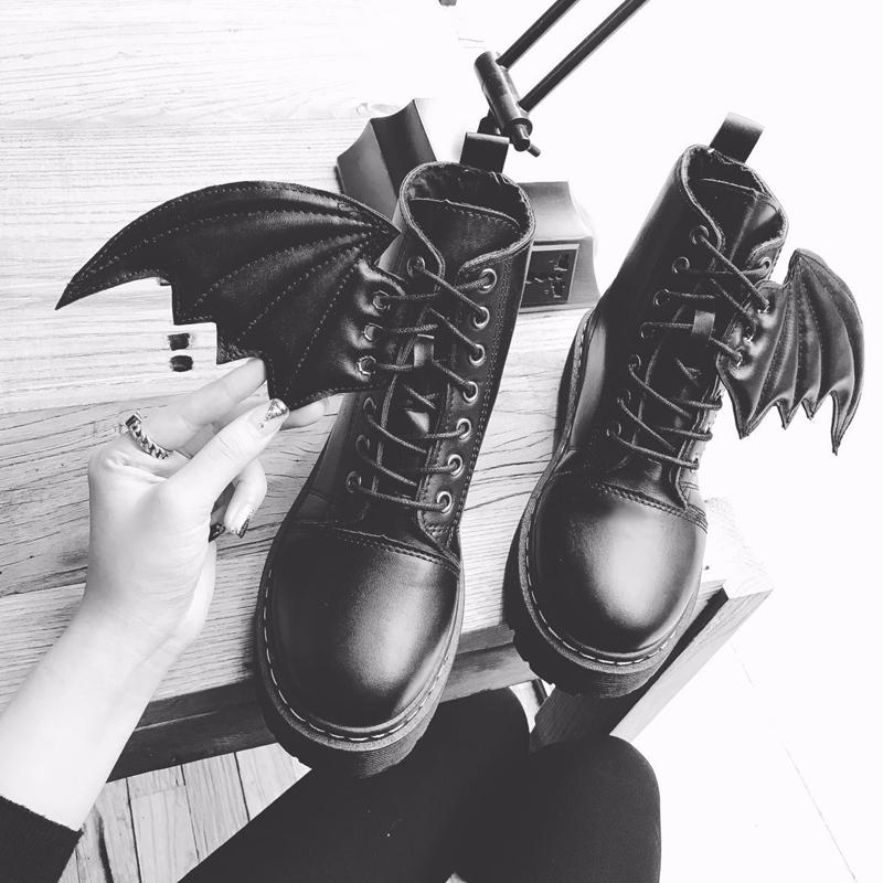 女鞋 女鞋秋冬季小恶魔短靴欧美风绑带翅膀鞋厚底短靴百搭学生马丁靴女_推荐淘宝好看的女鞋