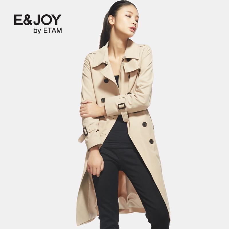 艾格风衣 Etam艾格 E&joy 2017春新品经典纯色休闲长款风衣17083402171_推荐淘宝好看的艾格风衣