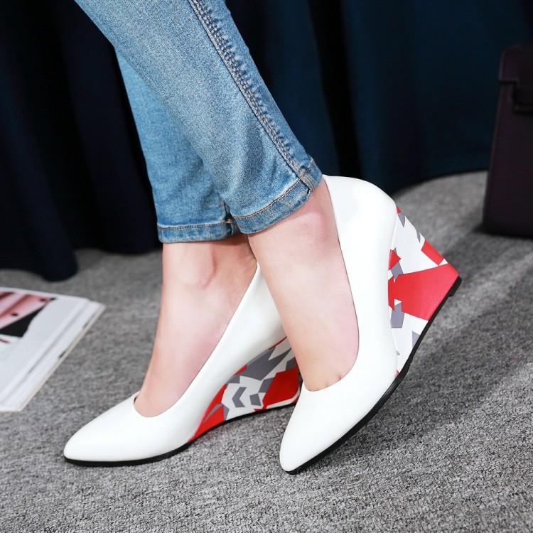 粉红色坡跟鞋 女鞋蓝色粉红色白色鞋高跟坡跟单鞋尖头婚鞋伴娘大码鞋小码鞋 LSJ_推荐淘宝好看的粉红色坡跟鞋