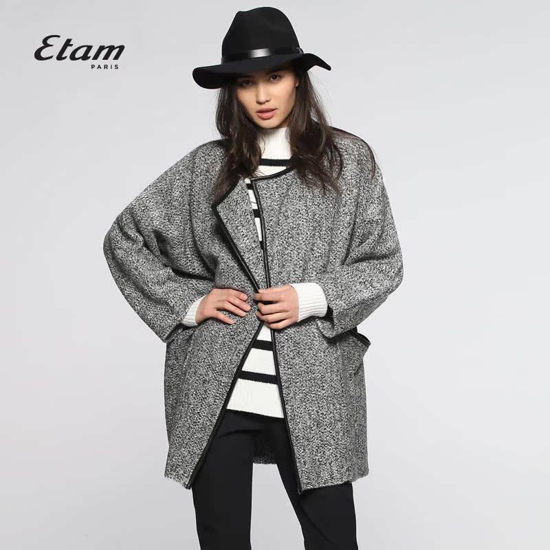 艾格风衣 艾格 ETAM 2016春SPU皮包边休闲风衣16013406461_推荐淘宝好看的艾格风衣