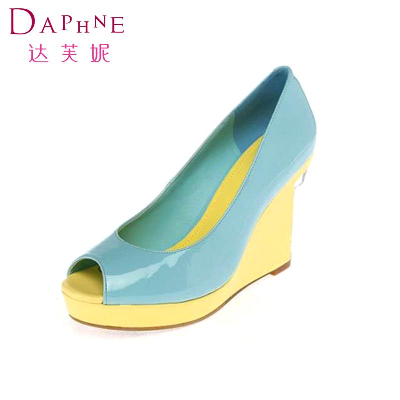 鱼嘴高跟单鞋 Daphne达芙妮女鞋 春款女鞋时尚鱼嘴鞋 坡跟高跟单鞋1014102054_推荐淘宝好看的女鱼嘴高跟单鞋
