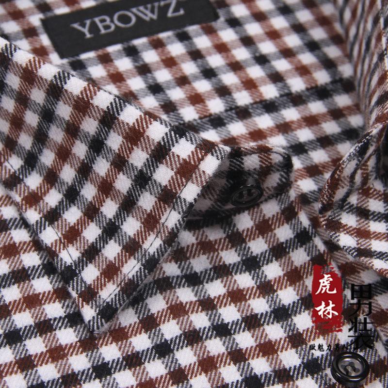 男士格子衬衫 包邮春秋款格子衬衫男长袖免烫纯棉加厚磨毛休闲全棉男士衬衣_推荐淘宝好看的男格子衬衫