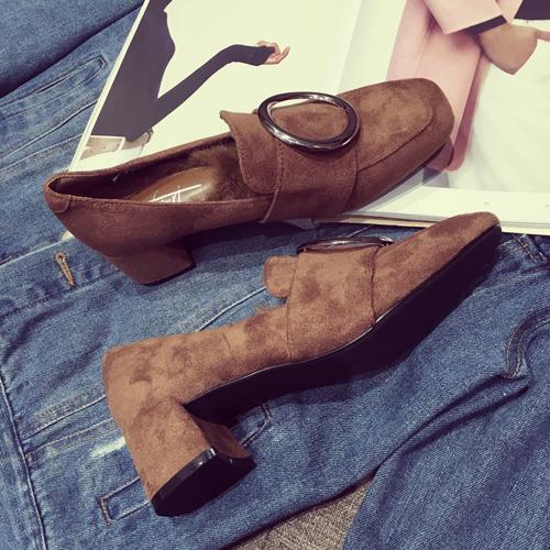 时尚高跟鞋 包邮 第2眼男人女鞋圆头高跟鞋粗跟兔毛加绒方扣韩版时尚新款单鞋_推荐淘宝好看的女时尚高跟鞋