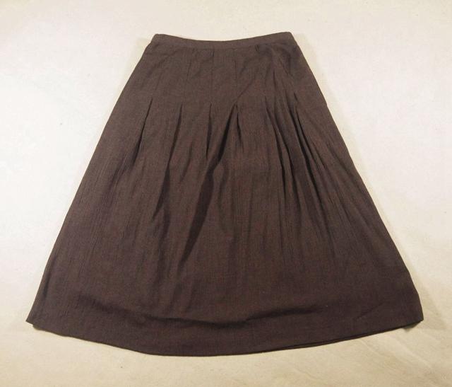中年女半身裙 新款棉麻栗色 抽褶波浪大摆双层深棕色中年淑大码中长半身裙_推荐淘宝好看的中年半身裙