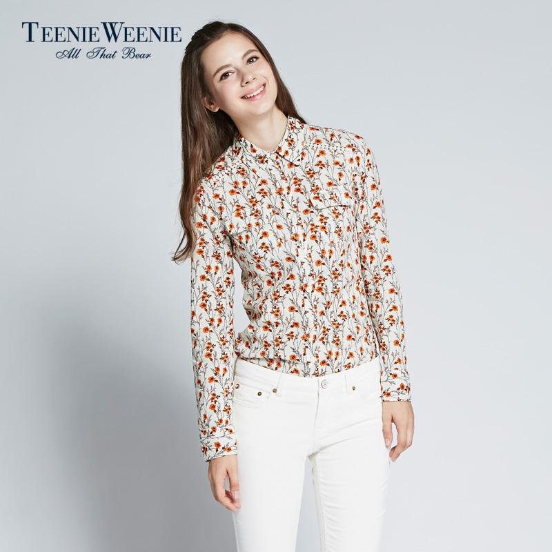 碎花衬衫 Teenie Weenie小熊女装秋季新品碎花衬衫TTYA53781R_推荐淘宝好看的女碎花衬衫