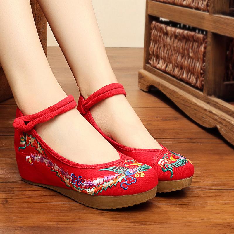 红色松糕鞋 老北京布鞋女秋季款透气休闲中跟单鞋子松糕跟绣花鞋红色结婚鞋子_推荐淘宝好看的红色松糕鞋