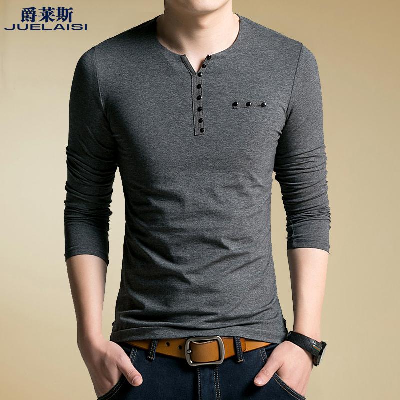 黑色T恤 春季男装男士长袖T恤V领薄款修身体恤针织韩版上衣打底衫秋衣男潮_推荐淘宝好看的黑色T恤