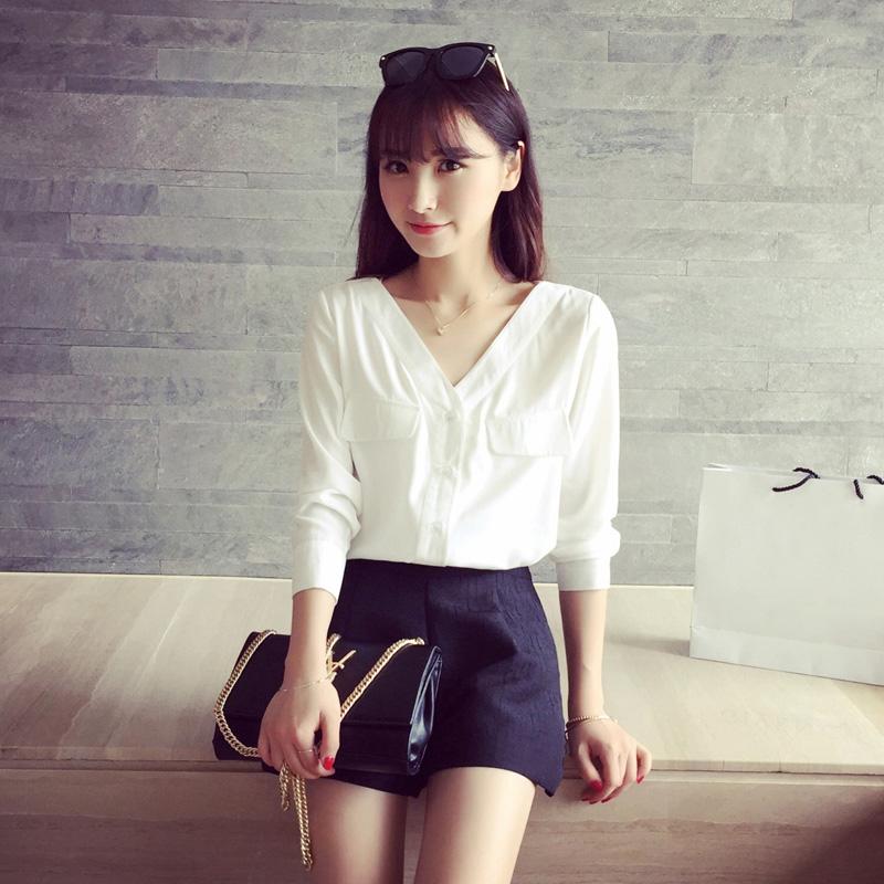 白色雪纺衬衫 2016秋季韩版休闲白色衬衫女长袖宽松甜美V领雪纺衬衣韩范学院风_推荐淘宝好看的女白色雪纺衬衫