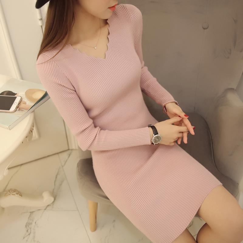 紫色针织衫 秋冬季新款韩版女装针织衫女套头v领中长款修身打底衫毛衣连衣裙_推荐淘宝好看的紫色针织衫