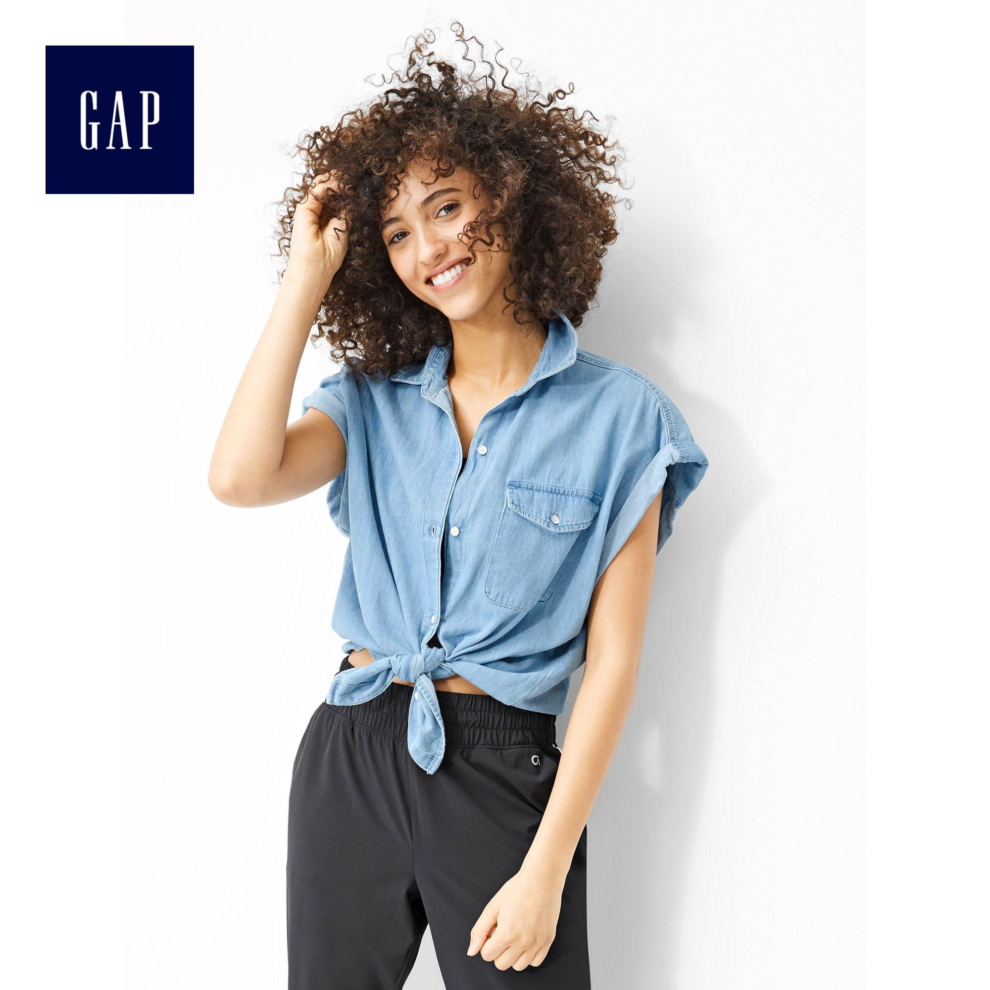 短袖牛仔衬衫 Gap女装 纯棉卷边短袖牛仔衬衫 蝙蝠袖休闲上衣 717188 W_推荐淘宝好看的女短袖牛仔衬衫