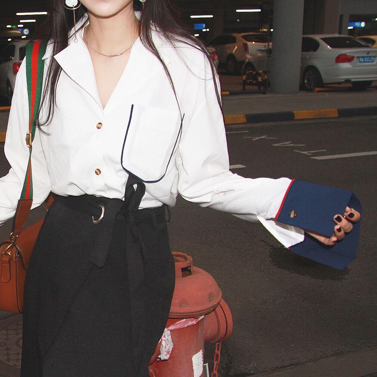 法式衬衫 韩国秋季新款睡衣风法式口袋拼色撞色水袖复古衬衫宽松大码衬衣女_推荐淘宝好看的女法 衬衫