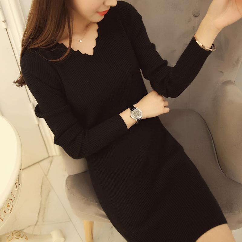 黑色连衣裙 秋装新款韩版v领针织衫修身显瘦女装中长款套头打底衫长袖连衣裙_推荐淘宝好看的黑色连衣裙