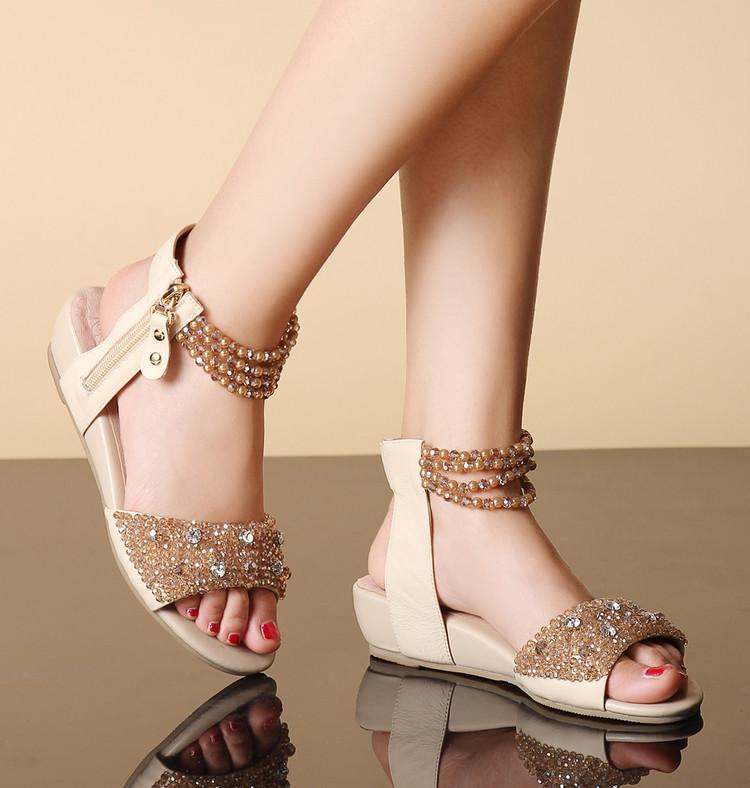 镂空罗马鞋 低跟坡跟露趾凉鞋女 罗马鞋镂空拉链新品包邮 真皮串珠浅口平底鞋_推荐淘宝好看的镂空罗马鞋