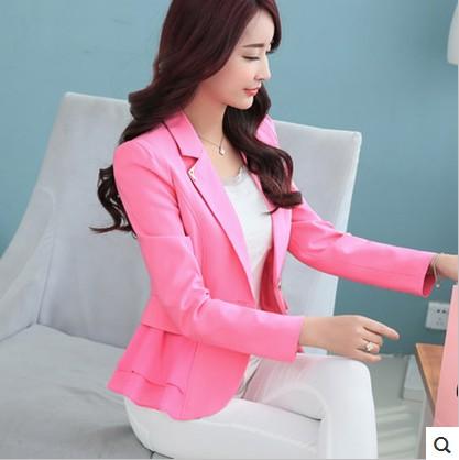 粉红色小西装 2016春秋新款大码女装韩版修身女士长袖小西装短款外套西服女特价_推荐淘宝好看的粉红色小西装