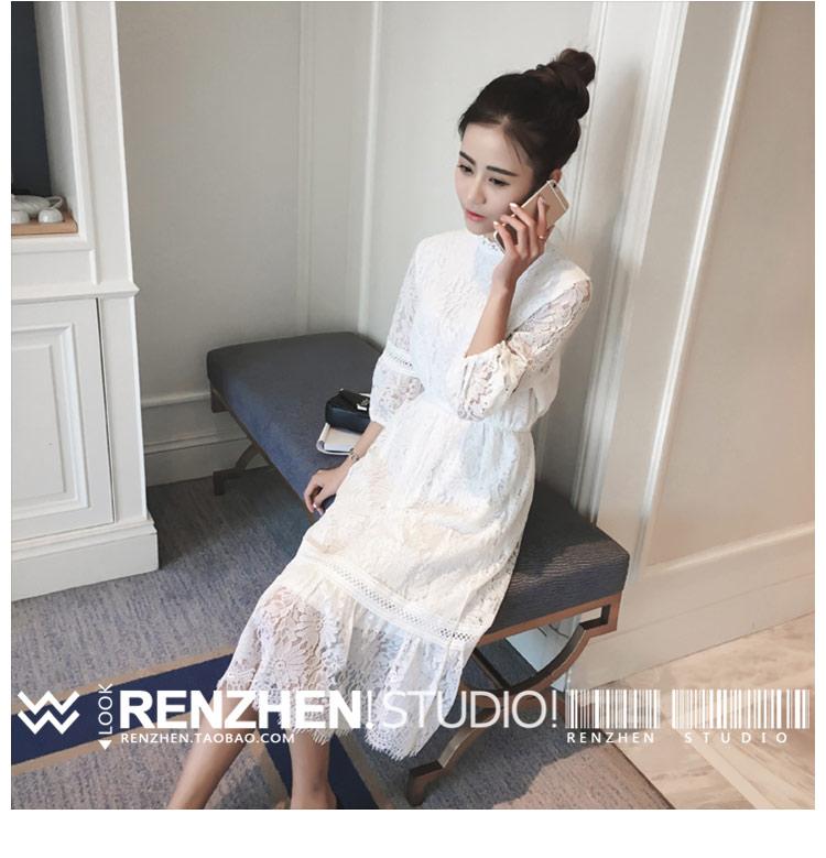 白色蕾丝连衣裙 2017哺乳衣春季蕾丝连衣裙新款七分袖中长款打底喂奶裙_推荐淘宝好看的白色蕾丝连衣裙