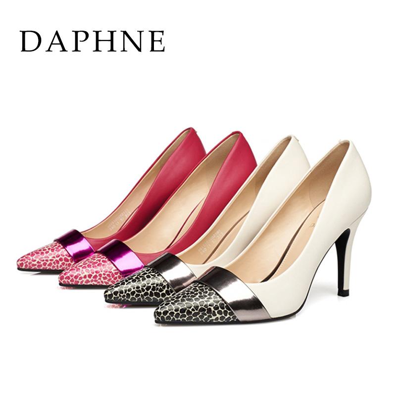 高跟单鞋 Daphne达芙妮超高跟女鞋 漆皮性感豹纹金属拼色单鞋1015101052_推荐淘宝好看的女高跟单鞋