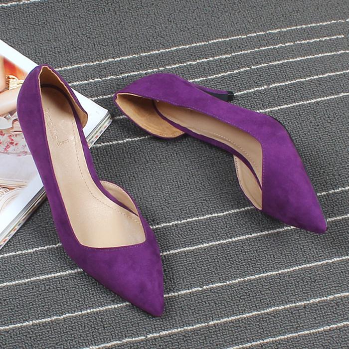紫色高跟鞋 韩版秀气浅口尖头侧空女鞋绒面细跟OL单鞋7.5厘米黑桔紫色高跟鞋_推荐淘宝好看的紫色高跟鞋