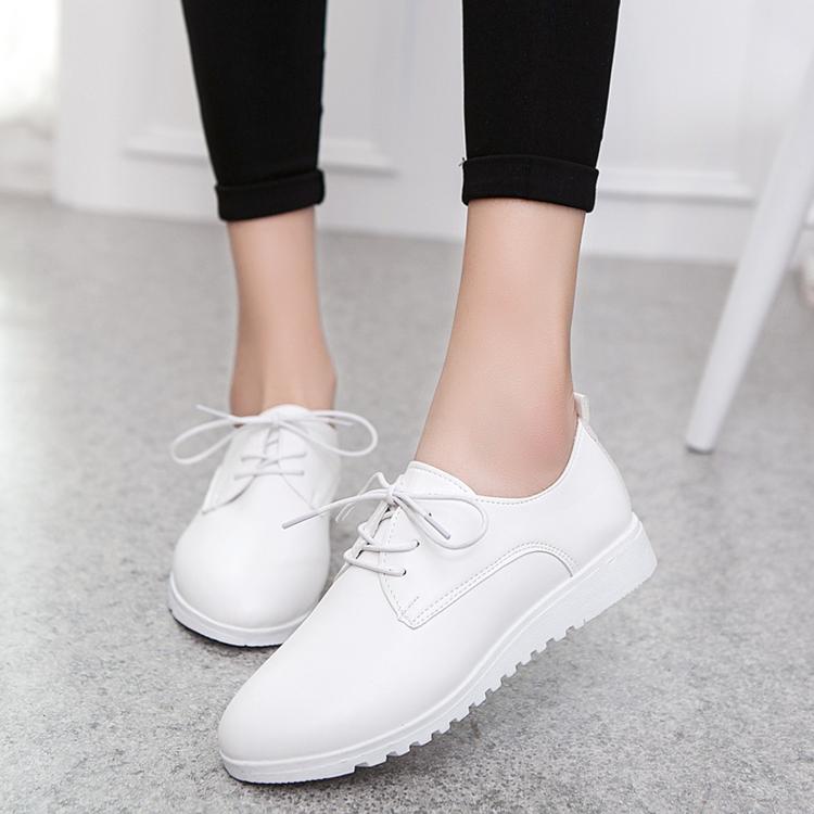 白色平底鞋 秋季女鞋子小白鞋女系带韩版平底鞋学生休闲鞋白色百搭圆头运动鞋_推荐淘宝好看的白色平底鞋