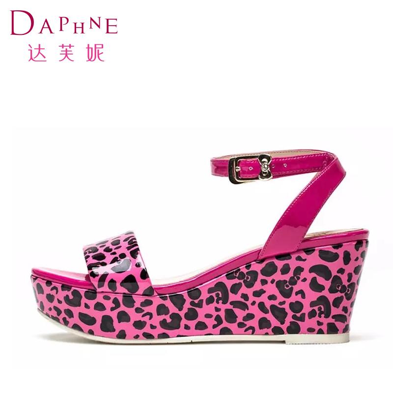 夏季豹纹坡跟鞋 Daphne达芙妮凉鞋夏季清仓女鞋甜美正装豹纹坡跟露趾凉鞋_推荐淘宝好看的女夏豹纹坡跟鞋
