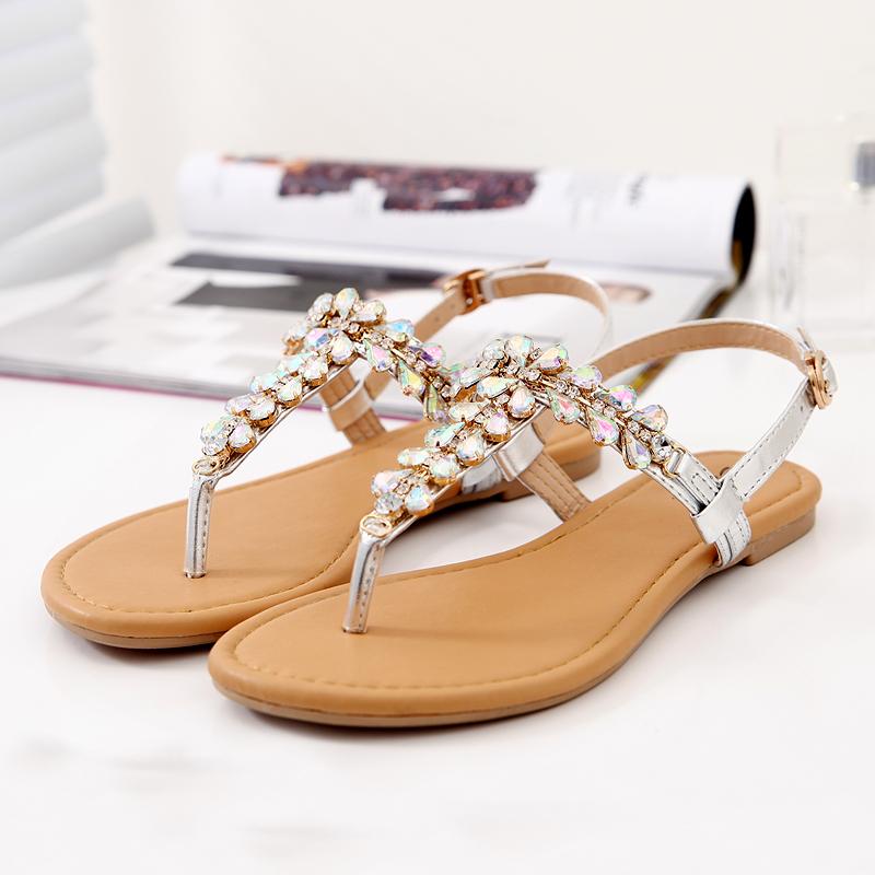 罗马女凉鞋 SUNNY COLOR新品平底夹脚凉鞋女士沙滩鞋防滑平跟丁字甜美罗马鞋_推荐淘宝好看的女罗马凉鞋